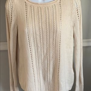 Lucky Brand sweater gold ribbon chiffon back